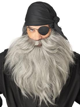 Pirate Beard & Moustache Grey