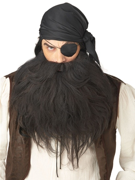Pirate Beard & Moustache Black