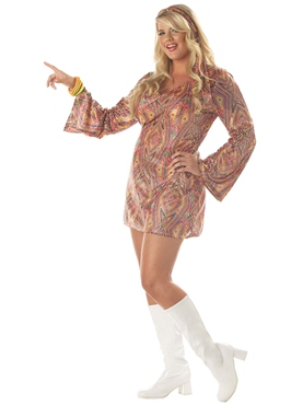Adult Plus Size 70's Disco Dolly Costume