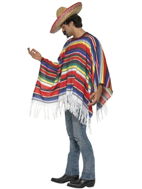 Adult Mexican Poncho - Side View