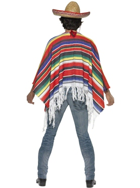 Adult Mexican Poncho - Back View