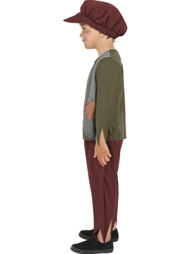 Child Poor Victorian Boy Costume - Back View