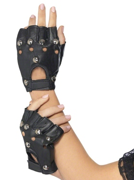 Punk Gloves With Studs Black Leather Look