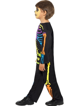 Child Punky Multi-Neon Skeleton Boy Costume - Back View