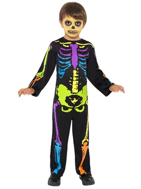 Child Punky Multi-Neon Skeleton Boy Costume