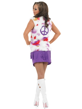 Adult Purple Hippie Costume with Waistcoat - Side View