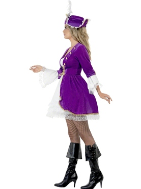 Adult Purple Pirate Beauty Costume - Back View