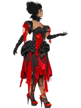 Adult Queen of Hearts Broken Costume - Back View