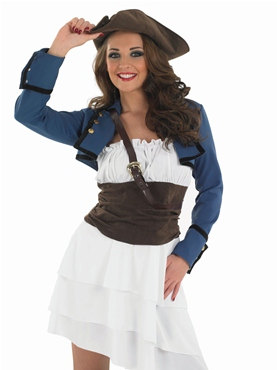 Adult Ra Ra Pirate Girl Costume - Back View