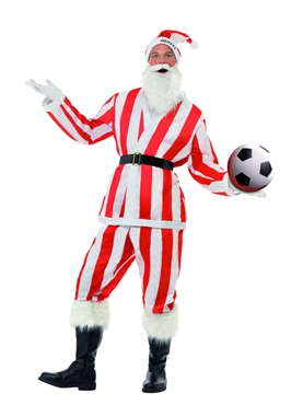 Adult Red & White Striped Sport Santa Costume