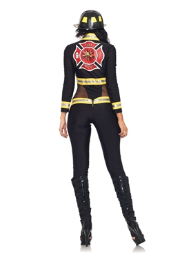 Adult Red Blaze Firefighter Costume - Back View