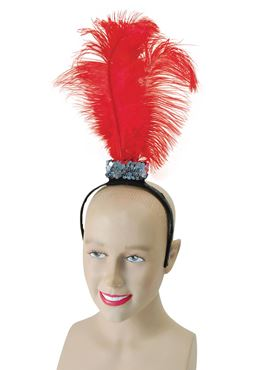 Red Flapper Headband with Feathers