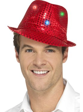Red Light Up Sequin Trilby Hat