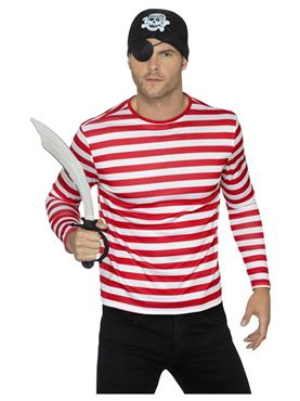 Red Long Sleeved Stripy T-Shirt - Side View