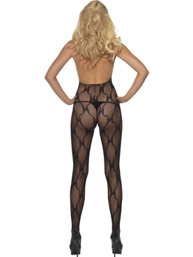 Adult Ribbon Print Body Stocking - Side View