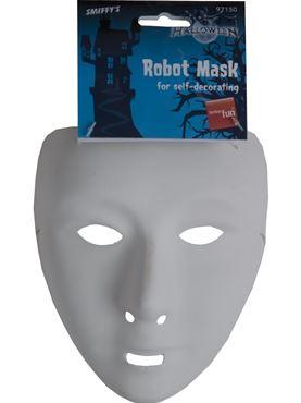 Robot Mask White - Back View