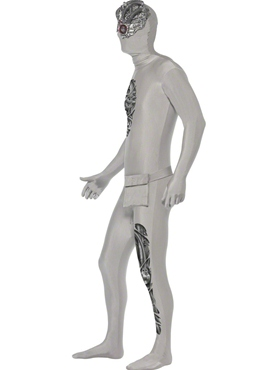 Adult Robotic Second Skin Costume - Back View
