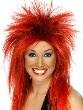 Rock Diva Wig Red/black