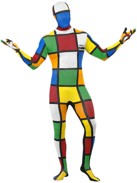 Adult Rubik's Cube Second Skin Costume Couples Costume