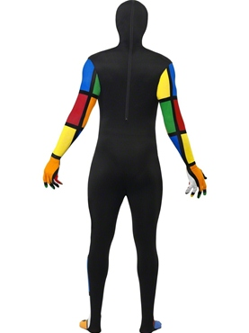 Adult Rubik's Cube Second Skin Costume - Back View