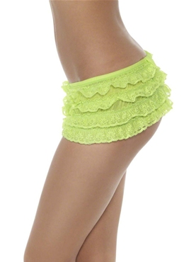 Ruffle Lace Panties Neon Green