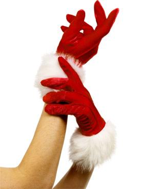 Santa Gloves Red
