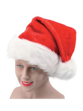 Santa Hat Plush Glitter