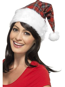 Santa Hat Red Tartan White - Back View