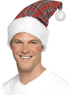 Santa Hat Red Tartan White