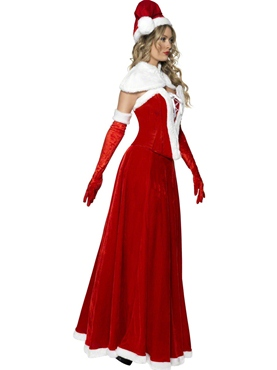 Adult Santa Long Skirt Costume - Back View