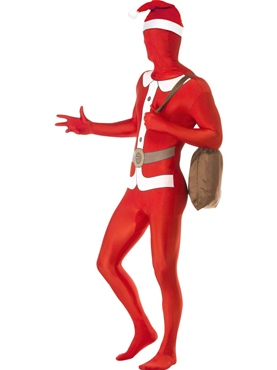 Adult Santa Second Skin Suit Costume - Back View