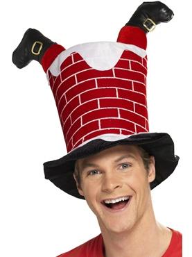 Santa Stuck in Chimney Hat - Back View
