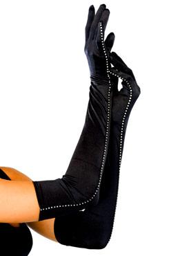 Satin Black Rhinestone Trim Gloves