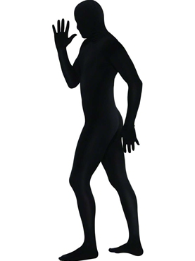 Adult Black Second Skin Suit Costume - Back View