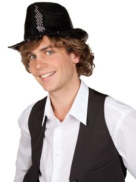 Sequin Fedora Hat Black