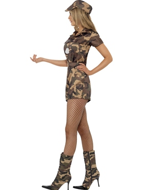 Adult Sexy Army Girl Costume - Back View
