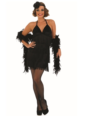 Adult Sexy Black Flapper Costume - Back View