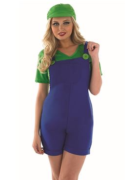 Adult Sexy Green Plumbers Mate Costume - Back View