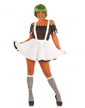 Adult Sexy Oompa Loompa Costume with Wig Thumbnail