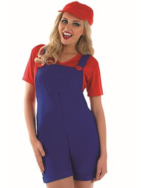 Adult Sexy Red Plumbers Mate Costume - Back View