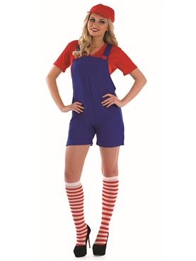 Adult Sexy Red Plumbers Mate Costume Thumbnail