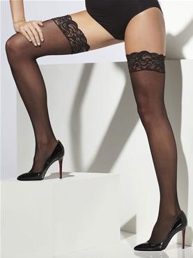 Sheer Black Lace Hold Ups