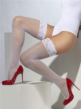 Sheer White Fishnet Lace Hold Ups