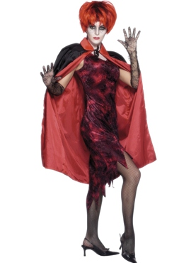 Adult Shiny Reversible Cape - Back View