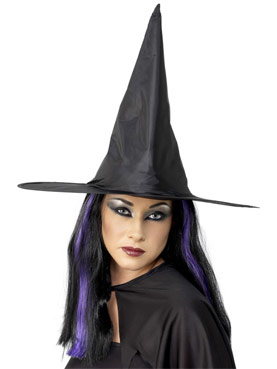 Shiny Black Fabric Witch Hat