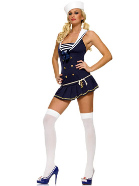 Adult Shipmate Cutie Blue Sailor Costume - Side View