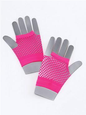 Short Neon Pink Fishnet Gloves