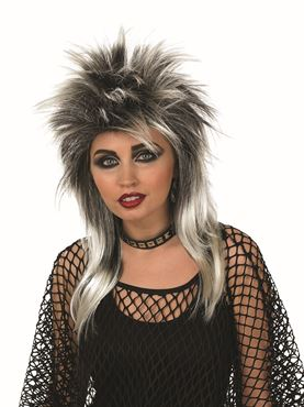 Adult Silver and Black Glam Rock Wig - Back View