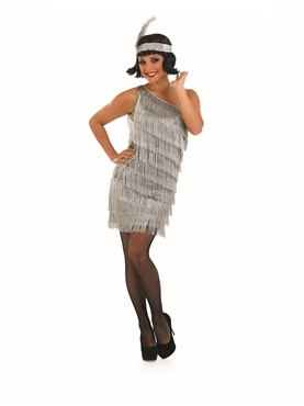 Adult Silver Flapper Dress Costume - Back View