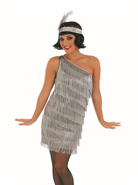 Adult Silver Flapper Dress Costume